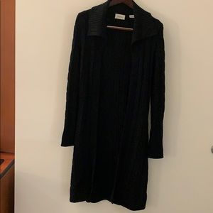 Cashmere cable knit open front long duster belted